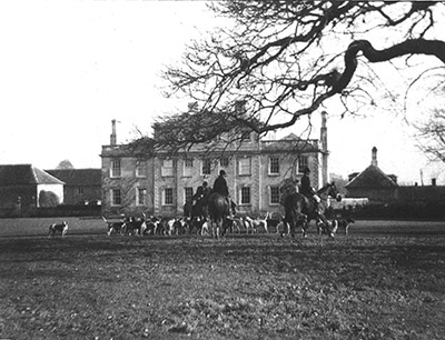 The hunt in front of Ufford Hall